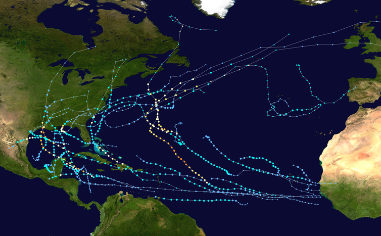 2020 Atlantic hurricane paths