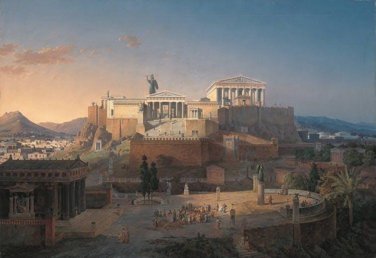 Une peinture de l'Acropole dans l'Athènes antique.
