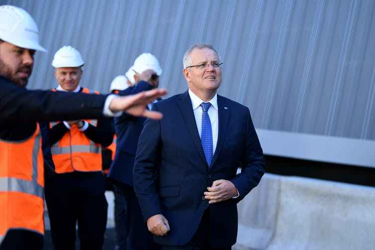 Prime Minister Scott Morrison inspects NorthConnex tunnel construction in Sydney