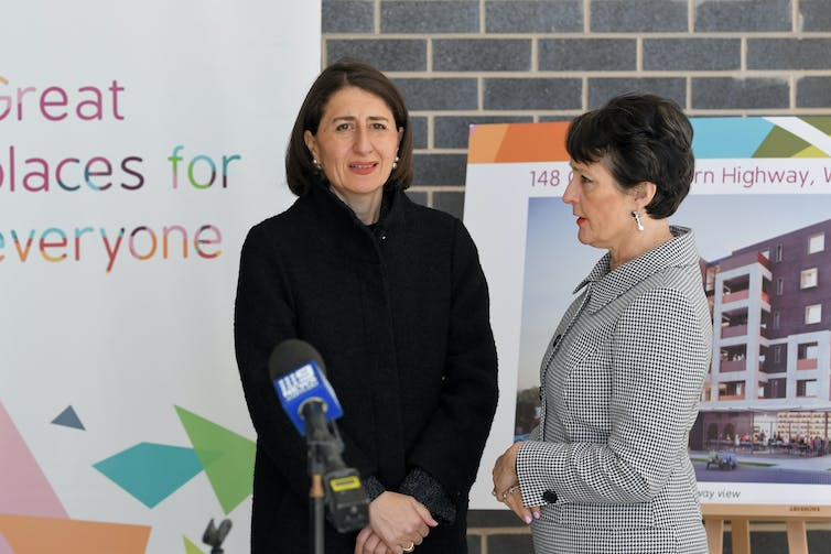 NSW Premier Gladys Berejiklian speaking at a social housing project