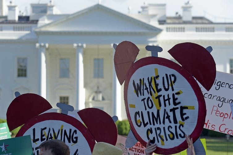protest signs outside White house