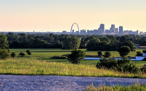 landscape with St. Louis in the distance