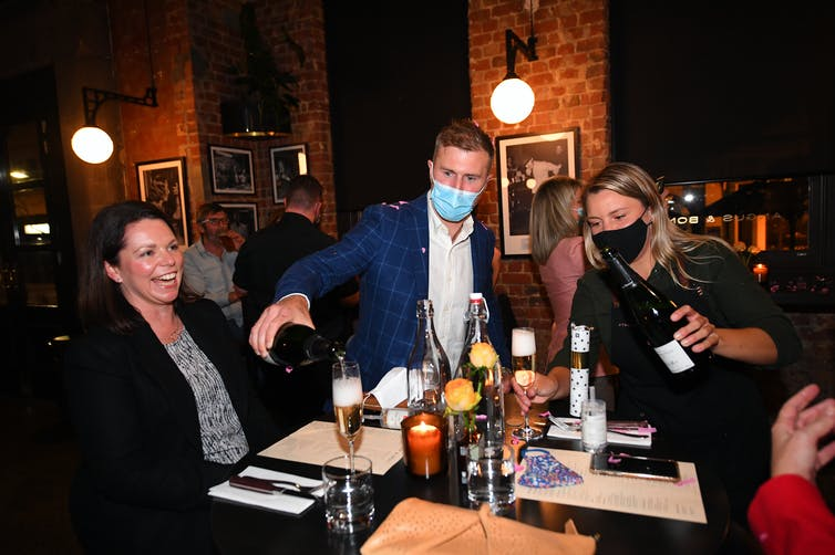 Patrons enjoying drinks after Melbourne's restrictions eased in late October