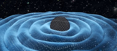 Illustration of gravitational waves around a black hole.