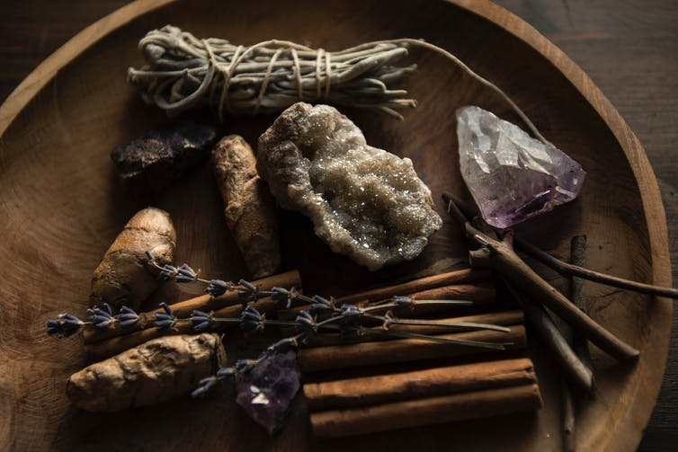 Crystals, spices and herbs.