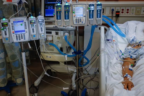 A COVID-19 patient in an ICU unit.