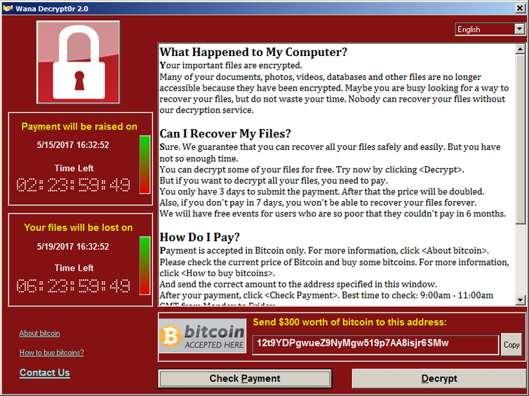 Computer screen showing ransomware demand