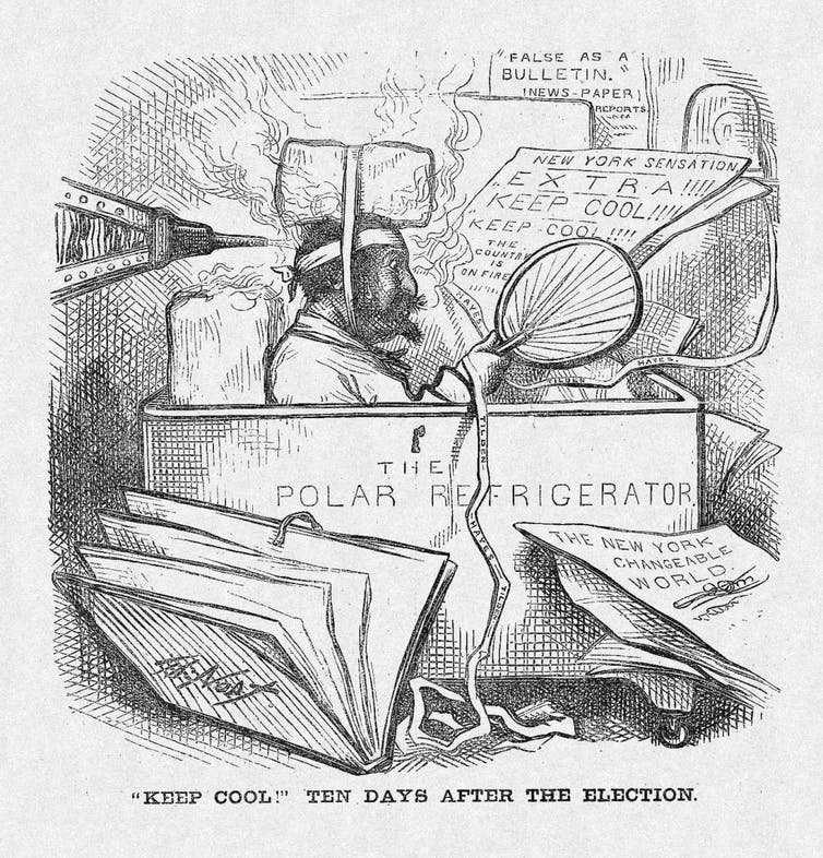 A cartoon making fun of hysterical newspaper headlines after the 1876 election.