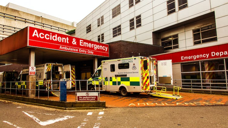 The outside of an emergency department in Glasgow, Scotland.