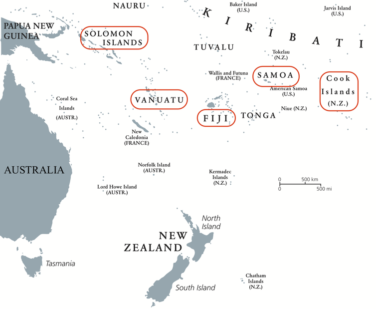 Map showing the Pacific islands highlighted for the research: Solomon Islands, Vanuatu, Fiji, Samoa and Cook Islands.