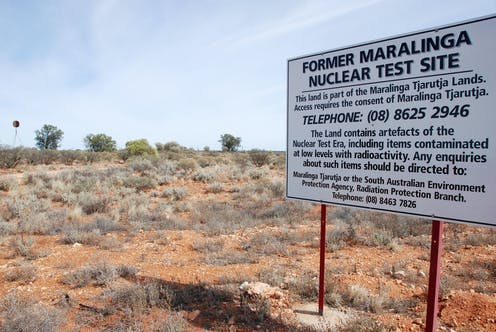 A sign marking a former nuclear test site in Maralinga, South Australia