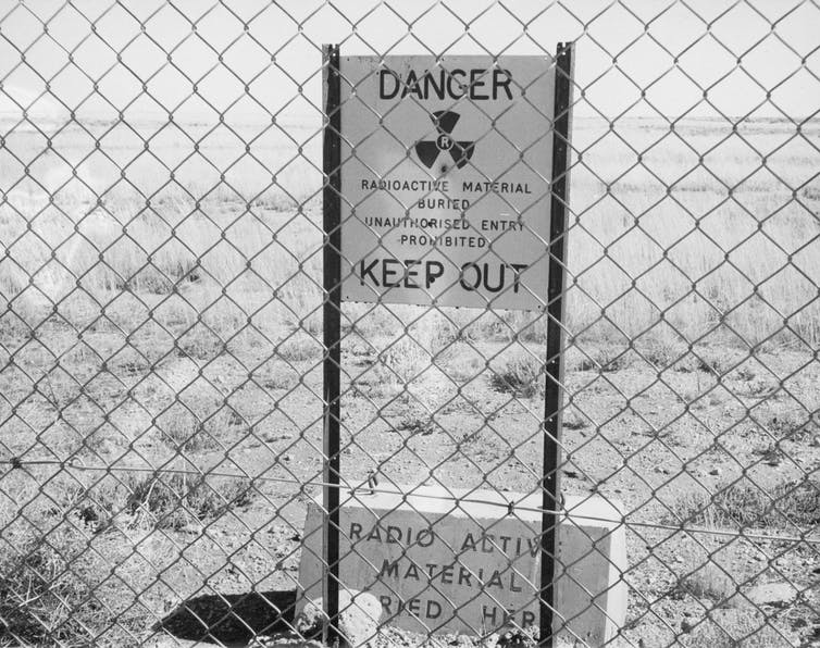A radioactive warning sign Maralinga village in South Australia in 1952.