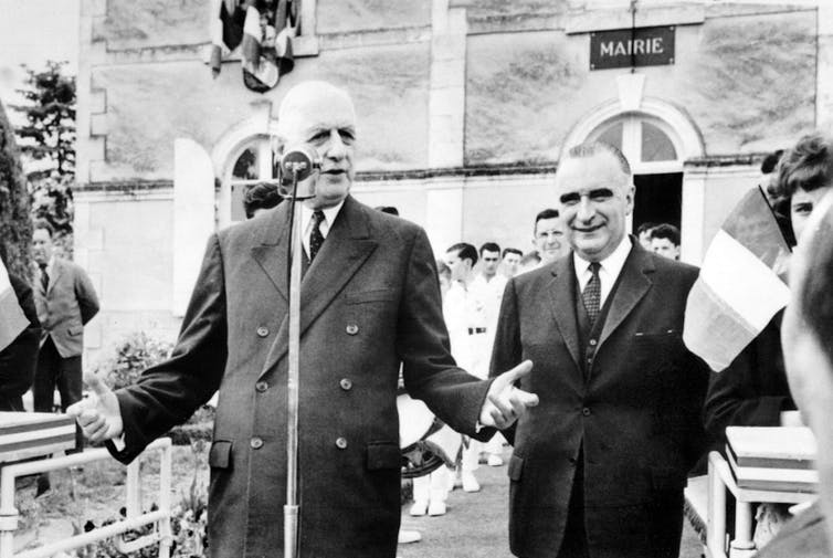 Le président de la République Charles de Gaulle et le premier ministre Georges Pompidou