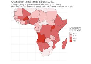 Mapa que muestra las tendencias de urbanización en África subsahariana.