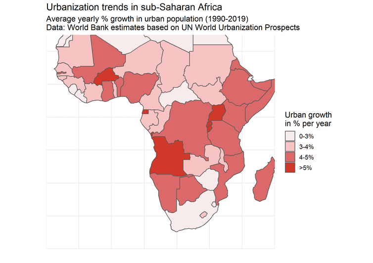 Map showing urbanisation trends in sub-Saharan Africa.