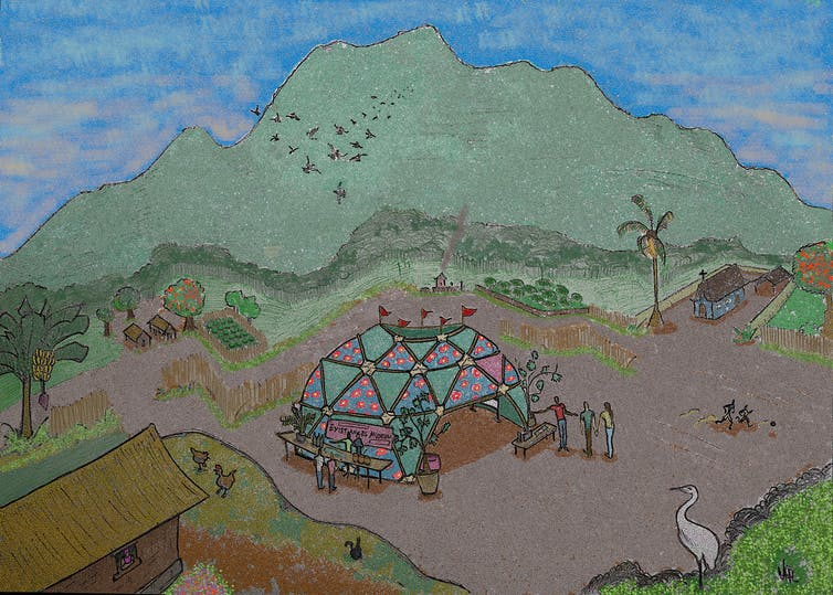 Drawing of mountain landscape with geodesic dome museum.