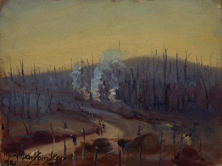 Battlefields in gray and brown with smoke rising.