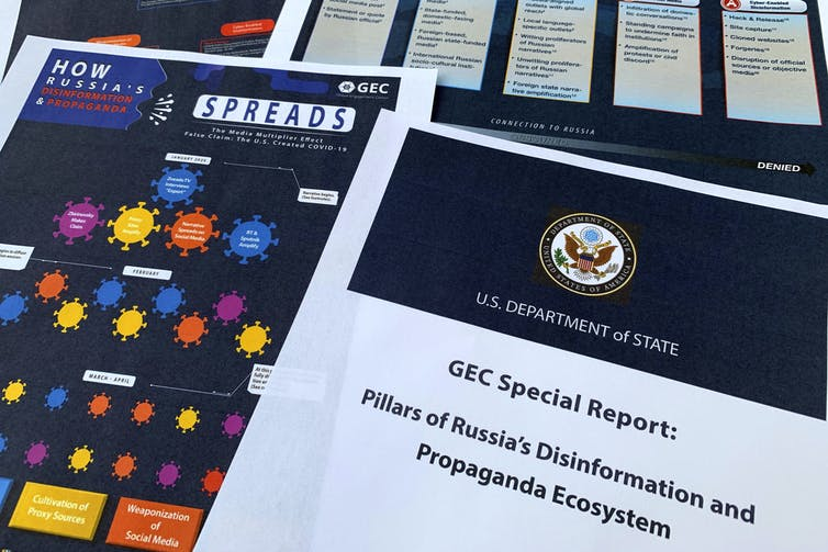 Pages from the U.S. State Department's Global Engagement Center report released on Aug. 5, 2020