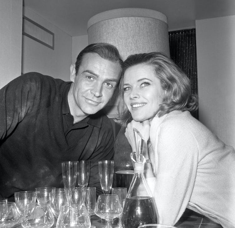 Sean Connery, left, with Honor Blackman, right.