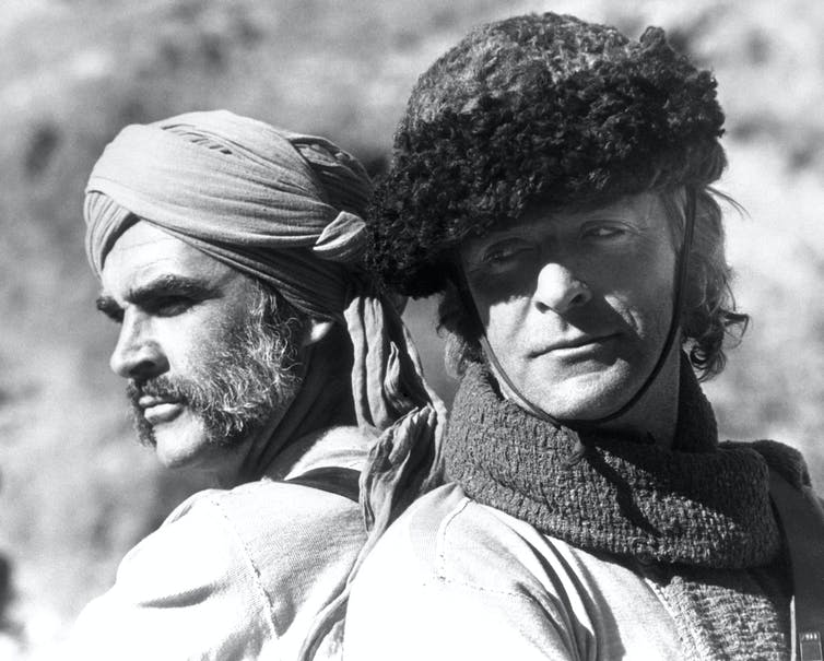 Actors Sean Connery, left, and Michael Caine, right, in costume for The Man Who Would Be KIng.