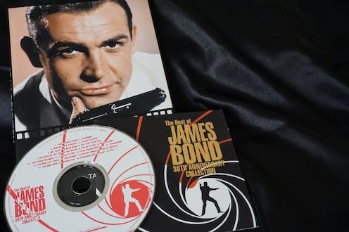 James Bond memorabilia with CD, DVD adn boo showing Sean Connery.