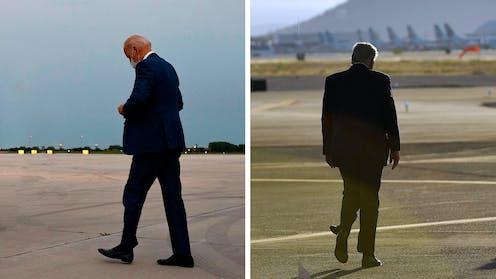 Presidential rivals Joe Biden and Donald Trump walking away from camera.