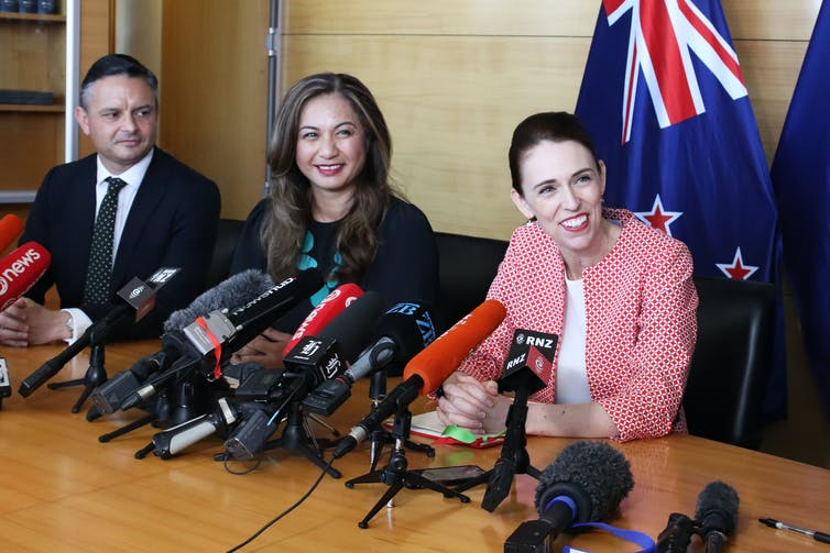 Jacinda Ardern with Green Party co-leaders