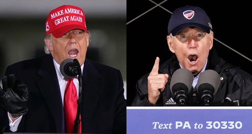 Donald Trump and Joe Biden at campaign rallies on the final weekend before the US election.