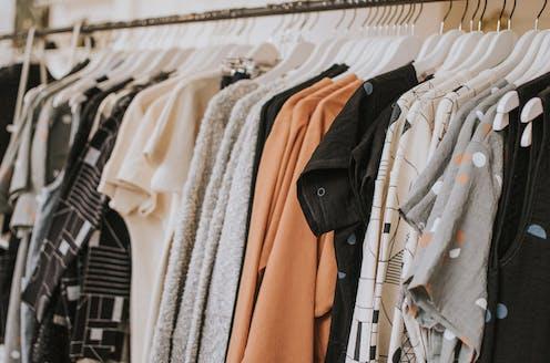 Women's clothing on shop rack