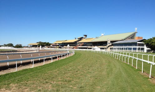 View of deserted racecourse