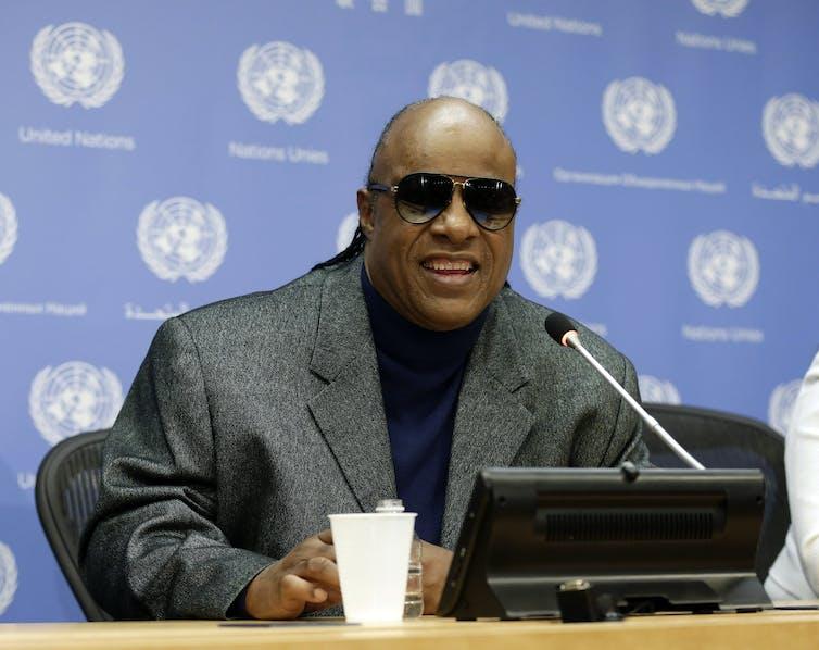 Stevie Wonder at a press conference.