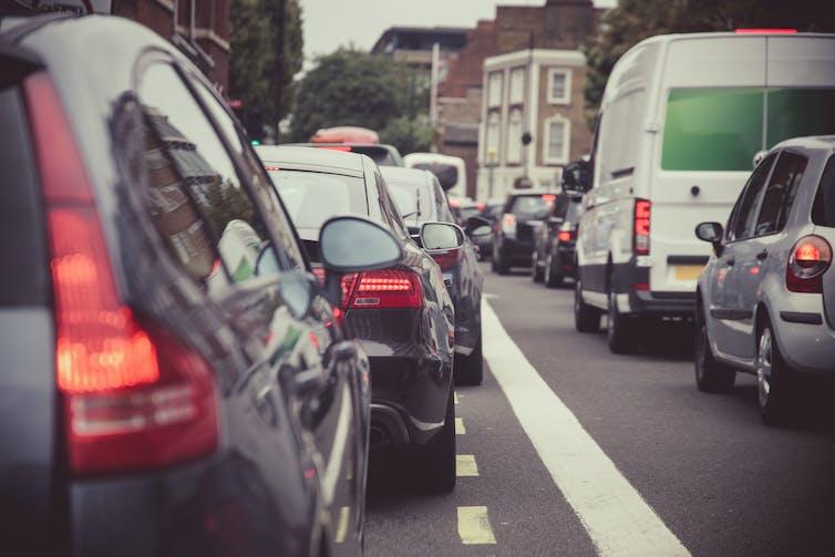 Cars in a traffic jam.