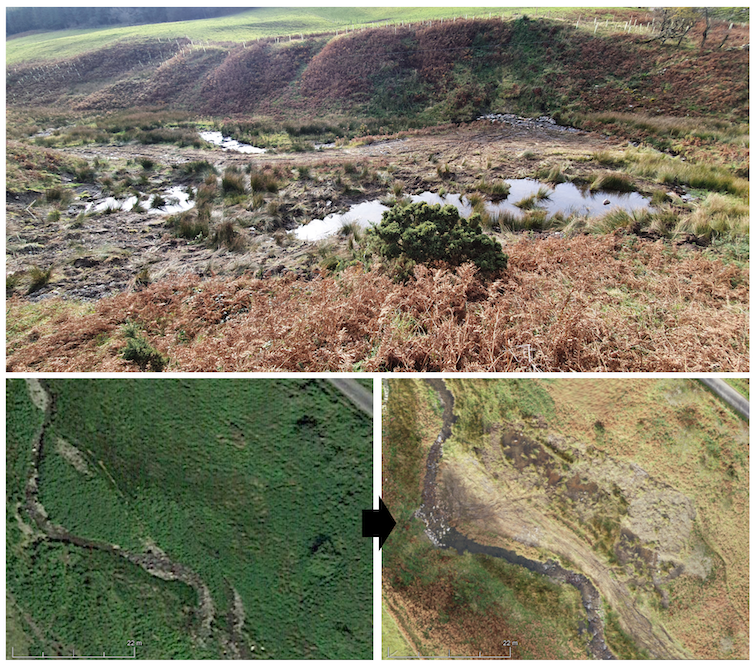 An image of a newly dug pond above before and after images of a floodplain with ponds near the main river.
