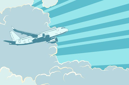 A retro poster of an aeroplane in the clouds.