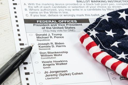 Papeleta electoral con las candidaturas a la presidencia de los Estados Unidos..