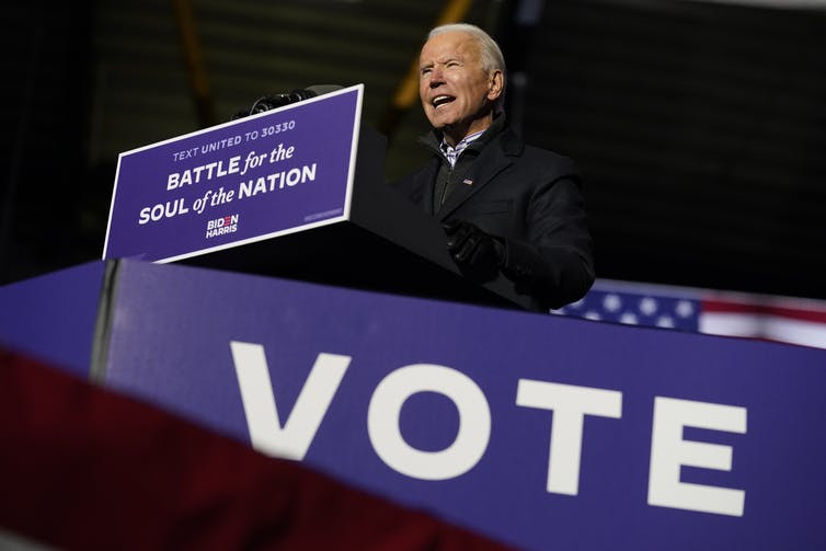 Joe Biden speaks at an event.