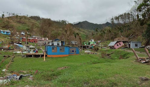 Houses in Fiji, destroyed by Cyclone Winston