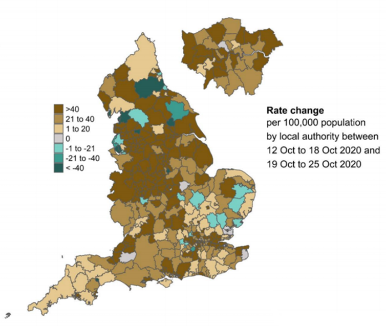 Map showing changes in infection rate across England, with brown showing increases and green decreases