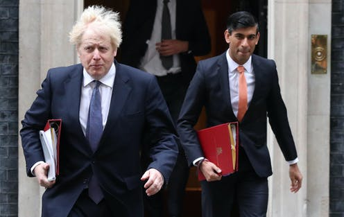 Boris Johnson and Rishi Sunak exit Downing Street door