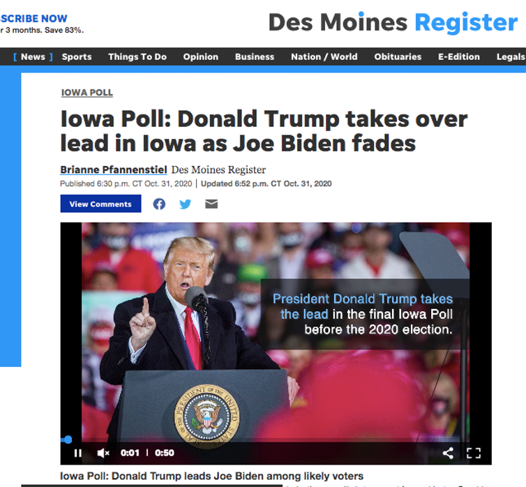 Screenshot of The Des Moines Register's story about their poll released just days before the election showing President Donald Trump ahead by 7 points in Iowa.
