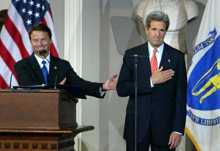 John Kerry and running mate John Edwards before Kerry gave concession speech in 2004.