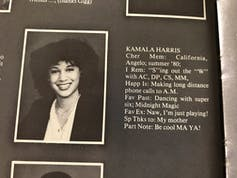 A teenaged Kamala Harris in her 1981 yearbook.