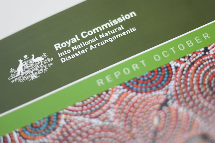 A hardcopy of the Royal Commission into National Natural Disaster Arrangements report