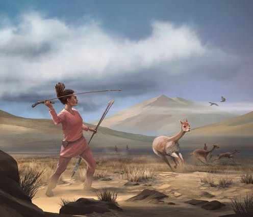 Picture of a prehistoric woman hunting.