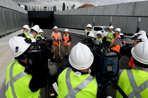 Media covering road project announcement