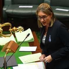 Minister speaking in parliament