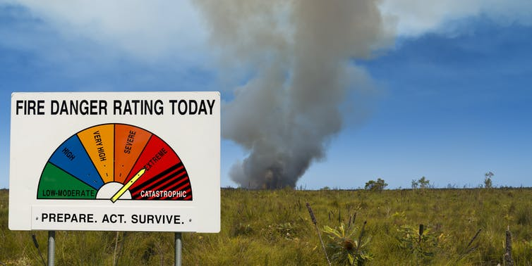 Fire danger rating sign in front of a grass fire
