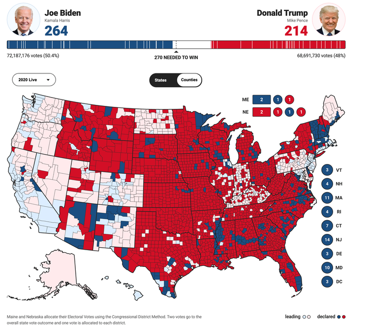Fox News view of 2020 election results by county as of the morning of Nov. 5, 2020.
