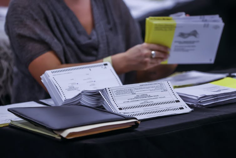Close up of ballot counting in Georgia.