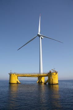 An offshore wind turbine in Portugal.